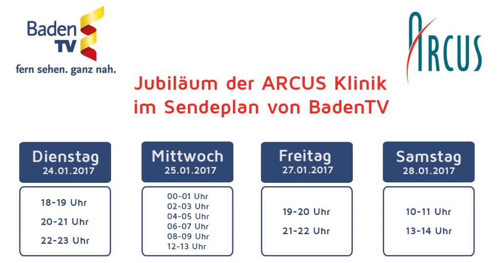 Sendeplan ARCUS Jubiläum Baden TV
