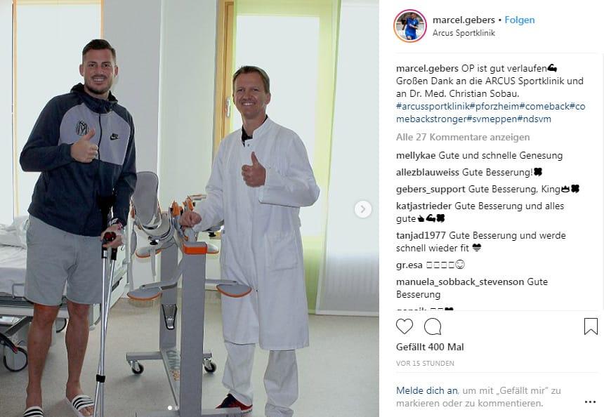 """""""OP ist gut verlaufen"""" teilt Marcel Gebers über seinen Fans per Instagram mit"""